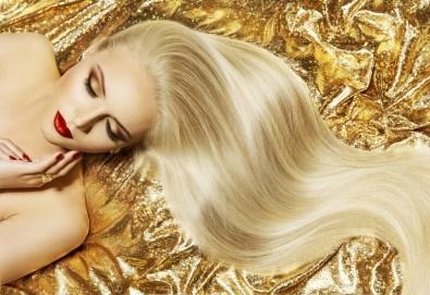 Полиране на коса с полировчик, дълбоко възстановяваща арганова терапия в 3 стъпки и прав сешоар в студио за красота Jessica! - Снимка