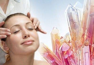 Дълбоко релаксиращ масаж на цяло тяло с кристали и масажни масла на френска био козметика Blue Marine, зонотерапия на стъпала и бонус: масаж на лице с кристали в Anima Beauty&Relax