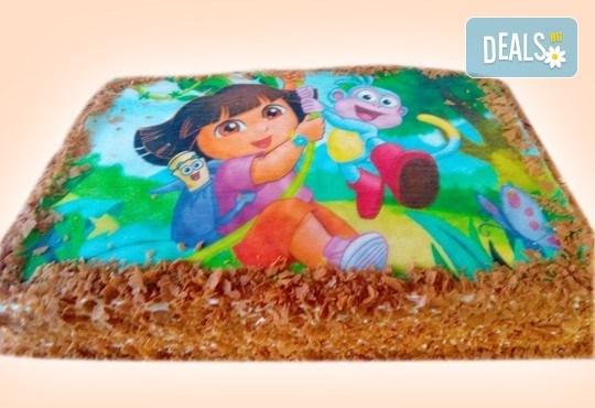 За рожден ден! Детска торта 16 парчета със снимка на любим герой, блат от мъфини, шоколадов крем и надпис пожелание от Muffin House! - Снимка 2