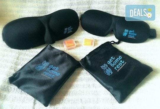 Комплект за сън Get Some rest - 3D силиконова маска с коприна с калъфче и подарък тапи за уши, за него и за нея - Снимка 4