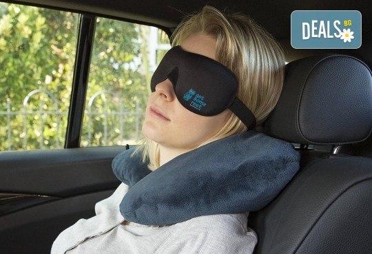 Комплект за път Get Some rest - меки сгъваеми чехли и нежна възглавница, прибрани в практично малко калъфче - Снимка 1