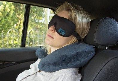 Комплект за път Get Some rest - меки сгъваеми чехли и нежна възглавница, прибрани в практично малко калъфче - Снимка