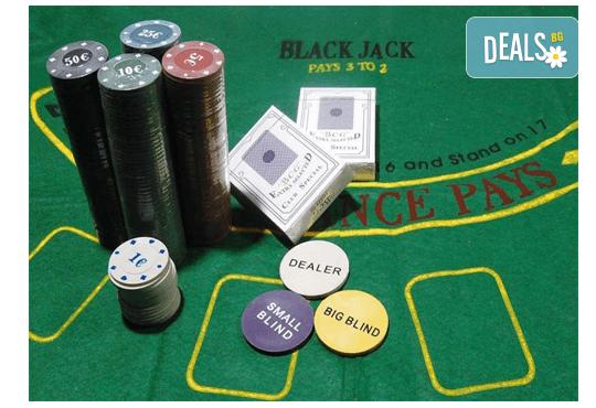 Покер комплект с 200 професионални чипа, 2 тестета карти и покривка за Blackjack от Podobro.com! - Снимка 3