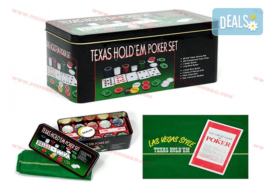 Покер комплект с 200 професионални чипа, 2 тестета карти и покривка за Blackjack от Podobro.com! - Снимка 2