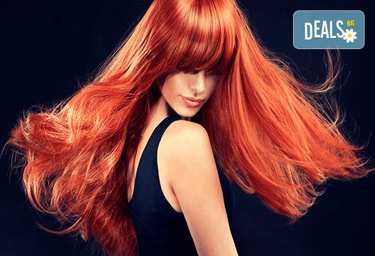 Боядисване на косата с боя на клиента, трифазна арганова терапия и оформяне на прав сешоар в студио за красота Jessica! - Снимка 1