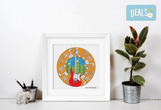 Мандала комплект за релаксация чрез оцветяване за деца! 4 бр. мандали, размер 30х30см, комплект цветни моливи и стилна рамка за стена - Снимка 7