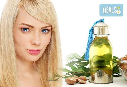 Разкош за Вашата коса! Подстригване, активна терапия: маска, масло и шампоан с арган и прическа в WAVE Studio - НДК - Снимка 1