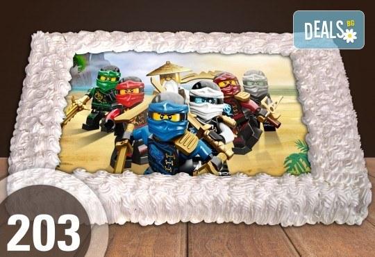 С доставка през април, май и юни! Торти за момчета: вземете голяма торта 20/ 25/ 30 парчета със снимка на герои от любимите детски филмчета - Нинджаго, Костенурките Нинджа, Спайдърмен и други от Сладкарница Джорджо Джани - Снимка 39