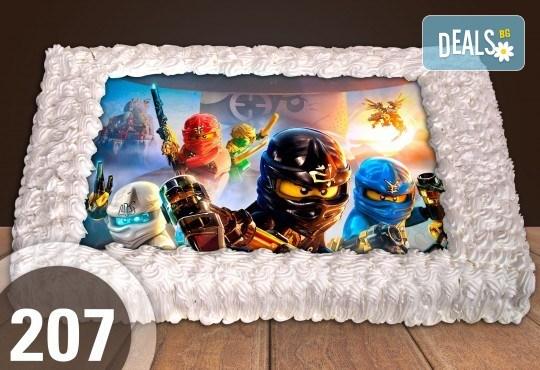 С доставка през април, май и юни! Торти за момчета: вземете голяма торта 20/ 25/ 30 парчета със снимка на герои от любимите детски филмчета - Нинджаго, Костенурките Нинджа, Спайдърмен и други от Сладкарница Джорджо Джани - Снимка 42