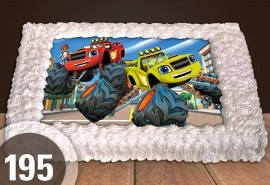 С доставка през март и април! Торти за момчета: вземете голяма торта 20/ 25/ 30 парчета със снимка на герои от любимите детски филмчета - Нинджаго, Костенурките Нинджа, Спайдърмен и други от Сладкарница Джорджо Джани - Снимка