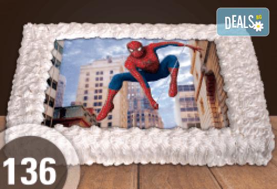 С доставка през април, май и юни! Торти за момчета: вземете голяма торта 20/ 25/ 30 парчета със снимка на герои от любимите детски филмчета - Нинджаго, Костенурките Нинджа, Спайдърмен и други от Сладкарница Джорджо Джани - Снимка 15