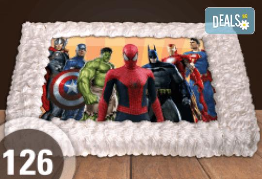 За момчета! Вземете голяма торта 20/ 25/ 30 парчета със снимка на герои от любимите детски филмчета - Ниднджаго, Костенурките Нинджа, Спайдърмен и други от Сладкарница Джорджо Джани! - Снимка 2