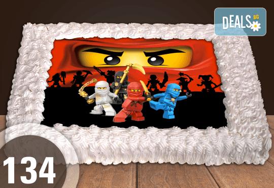 С доставка през април, май и юни! Торти за момчета: вземете голяма торта 20/ 25/ 30 парчета със снимка на герои от любимите детски филмчета - Нинджаго, Костенурките Нинджа, Спайдърмен и други от Сладкарница Джорджо Джани - Снимка 9