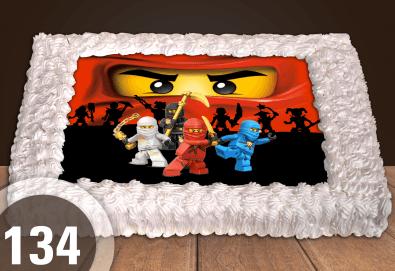 За момчета! Вземете голяма торта 20/ 25/ 30 парчета със снимка на герои от любимите детски филмчета - Нинджаго, Костенурките Нинджа, Спайдърмен и други от Сладкарница Джорджо Джани! - Снимка