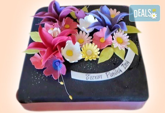 Цветя! Празнична торта с пъстри цветя, дизайн на Сладкарница Джорджо Джани - Снимка 1