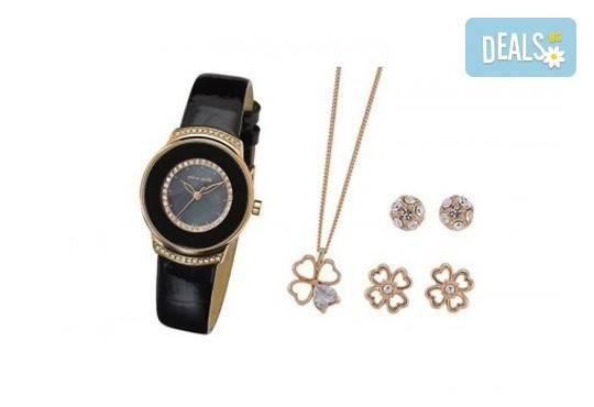 Стилен комплект за любимата жена на Pierre Cardin - часовник, 2 чифта обици и колие в цвят по избор! - Снимка 1
