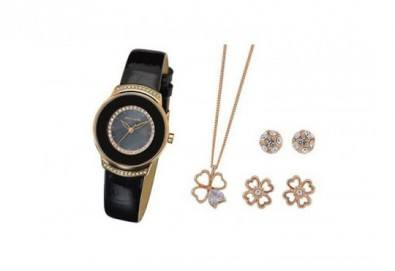 Стилен комплект за любимата жена на Pierre Cardin - часовник, 2 чифта обици и колие в цвят по избор! - Снимка