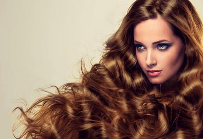 Терапия за коса с кератинова ампула и ултразвукова инфраред преса + оформяне на прическа със сешоар в салон Blush Beauty!