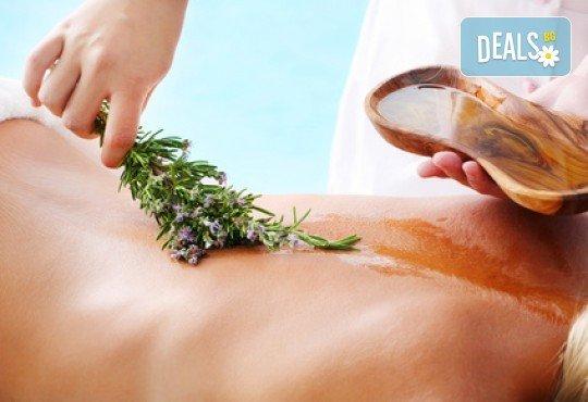Дълбокотъканен масаж на цяло тяло с топли билкови масла и сегментарно-рефлекторни техники в луксозния СПА център Senses Massage & Recreation! - Снимка 1