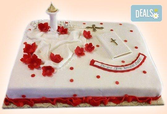 За кръщене! Красива тортa за Кръщенe с надпис Честито свето кръщене, кръстче, Библия и свещ от Сладкарница Джорджо Джани - Снимка 2