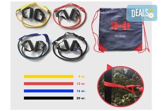 Комплект от 4 тренировъчни ластици с вграден предпазител и стилна водоустойчива раница от Тренирай ме! - Снимка 5