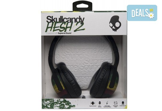 Забавен дизайн и качествен звук! Слушалки SkullCandy Hesh 2.0 с микрофон Rasta! - Снимка 3