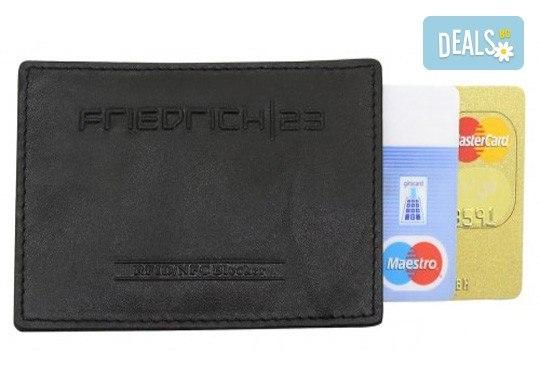 Практично и сигурно! Калъф от естествена кожа с RFID защита за безконтактни кредитни карти - Снимка 1