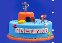 Детска торта с декорация Том и Джери, изработена от пандишпан с пресни яйца в комбинация с ванилов и шоколадов мус, от Сладкарница Сладост! - Снимка