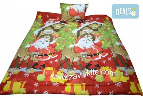 Луксозен комплект Коледа 100% ранфорс: олекотена завивка с щампа Дядо Коледа + калъфка за възглавница - единичен или двоен, от Zavivkite! - Снимка 1