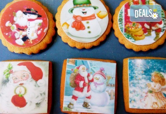 Коледни бисквити със снимка на Дядо Коледа, Снежния човек, джуджета, ангелчета и елхички от майстор-сладкарите на Muffin House! - Снимка 1