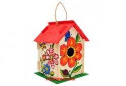 Дървена къщичка за птички - комплект за оцветяване с боички и четка за рисуване от Podobro.com! - Снимка