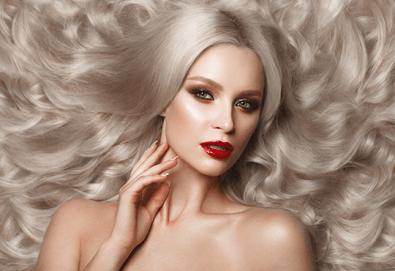 За празниците! Боядисване с боя на клиента, подстригване, арганова терапия Stapiz, заглаждащ флуид и прическа в Салон Blush Beauty! - Снимка