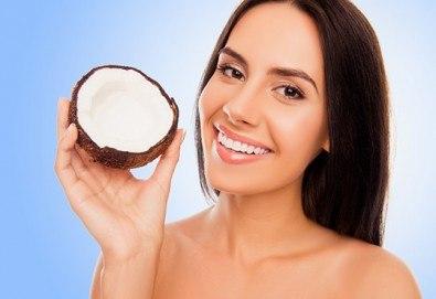 Дълбоко подхранване! Mасаж на лице с био кокосово масло и топла термична маска в козметично студио Ма Бел! - Снимка