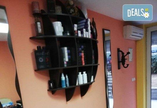 Подстригване, терапия по избор: подхранваща, ботокс или за запазване на цвета, и оформяне на прическа със сешоар в салон за красота Дамалия! - Снимка 7