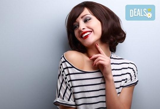 Подстригване, терапия по избор: подхранваща, ботокс или за запазване на цвета, и оформяне на прическа със сешоар в салон за красота Дамалия! - Снимка 1