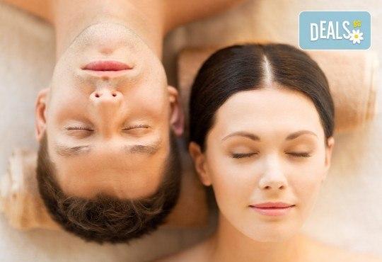 Вълшебна СПА терапия за двама! Ориенталски масаж на цяло тяло, глава и лице с уникалния афродизиак сандалово дърво и сладка ванилия, пилинг на гръб и СПА маска Wellness Center Ganesha! - Снимка 1