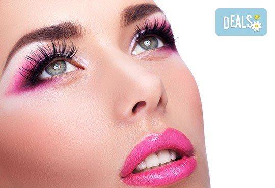 Поставяне на копринени или диамантени мигли по избор по метода косъм по косъм в студио за красота Галинея! - Снимка 1