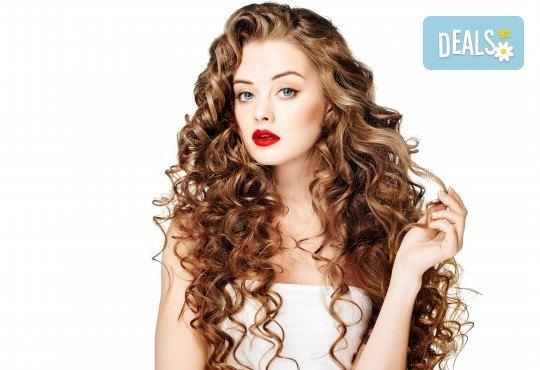 Консултация със специалист и терапия против омазняване на косата + трайно къдрене по желание и оформяне на прическа във фризьоро-козметичен салон Вили! - Снимка 1