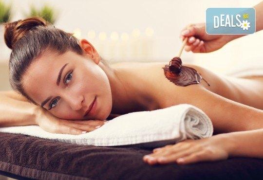 Релаксиращ масаж на цяло тяло с масло с аромат на шоколад и бонус: рефлексотерапия на глава, стъпала и длани във Фризьорски салон Moataz Style! - Снимка 2