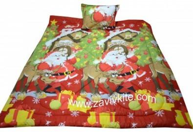 Луксозен комплект Коледа 100% ранфорс: олекотена завивка с щампа Дядо Коледа + калъфка за възглавница 2 бр. - двоен размер, от Zavivkite! - Снимка