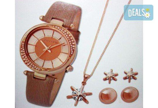 Подарете с любов! Комплект часовник, колие и 2 чифта обеци на Pierre Cardin + безплатна доставка! - Снимка 1