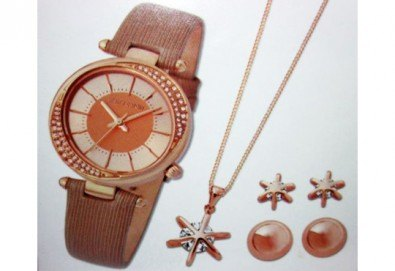 Подарете с любов! Комплект часовник, колие и 2 чифта обеци на Pierre Cardin + безплатна доставка! - Снимка