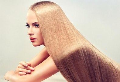 Мека и блестяща коса с трайно изправяне с арган във фризьоро-козметичен салон Вили! - Снимка