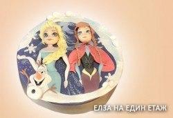 Елза и Анна! Тематична 3D торта Замръзналото кралство от 12 до 37 парчетата - кръгла, голяма правоъгълна или триизмерна кукла Елза от Сладкарница Джорджо Джани - Снимка