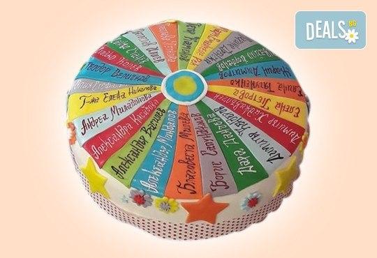 За кумовете! Празнична торта Честито кумство с пъстри цветя, дизайн сърце, романтични рози, влюбени гълъби или др. от Сладкарница Джорджо Джани - Снимка 41