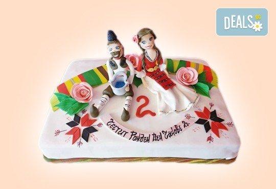 За кумовете! Празнична торта Честито кумство с пъстри цветя, дизайн сърце, романтични рози, влюбени гълъби или др. от Сладкарница Джорджо Джани - Снимка 28