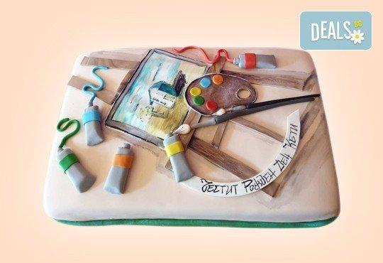За кумовете! Празнична торта Честито кумство с пъстри цветя, дизайн сърце, романтични рози, влюбени гълъби или др. от Сладкарница Джорджо Джани - Снимка 37