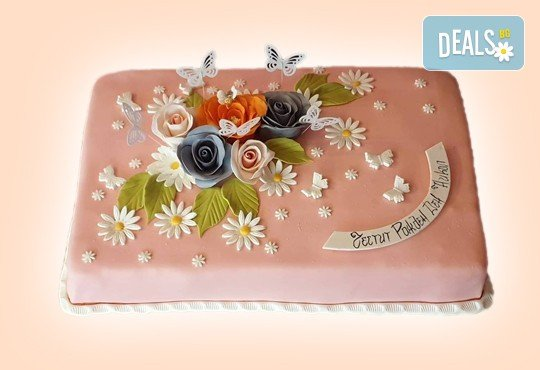Празнична торта Честито кумство с пъстри цветя, дизайн сърце, романтични рози, влюбени гълъби или др. от Сладкарница Джорджо Джани - Снимка 23