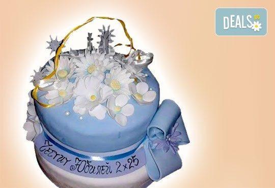 За кумовете! Празнична торта Честито кумство с пъстри цветя, дизайн сърце, романтични рози, влюбени гълъби или др. от Сладкарница Джорджо Джани - Снимка 14