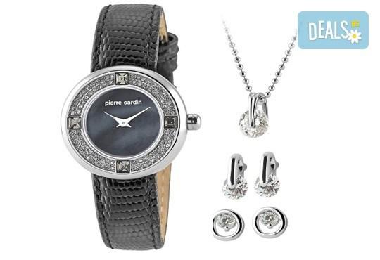 Романтичен комплект часовник, колие и два чифта обеци в сребристо и с кристали на Pierre Cardin + безплатна доставка! - Снимка 1